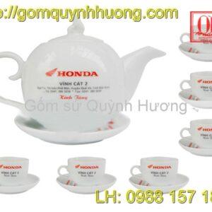 Ấm chén trắng in logo Honda