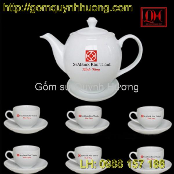Ấm chén trắng in logo ngân hàng Kim Thanh