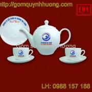 Ấm chén Bát Tràng in logo xi măng Hạ Long