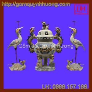 Đồ thờ cúng Bát Tràng - Bộ đỉnh hạc men rạn