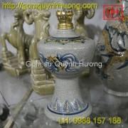 Đồ thờ cúng Bát Tràng - Đèn dầu men rạn 1