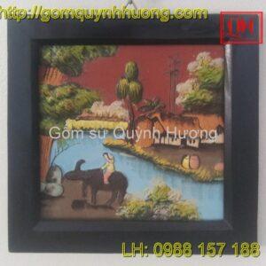 Tranh gốm Bát Tràng - Cảnh đồng quê 1