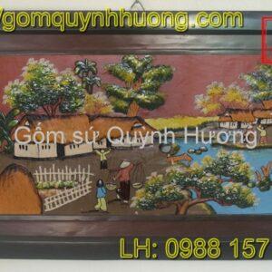 Tranh gốm Bát Tràng - Cảnh đồng quê 10