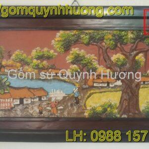 Tranh gốm Bát Tràng - Cảnh đồng quê 3