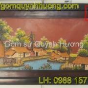 Tranh gốm Bát Tràng - Cảnh đồng quê 4