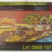 Tranh gốm Bát Tràng - Cảnh đồng quê 5