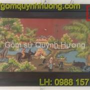 Tranh gốm Bát Tràng - Cảnh đồng quê 6