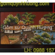 Tranh gốm Bát Tràng - Cảnh đồng quê 7