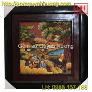 Tranh gốm Bát Tràng - Cảnh đồng quê 8
