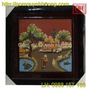 Tranh gốm Bát Tràng - Cảnh đồng quê 9