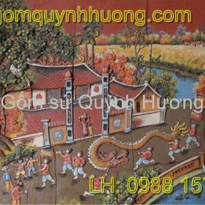 Tranh gốm Bát Tràng - Mẫu tranh gốm dán tường 04