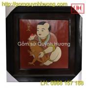 Tranh gốm Bát Tràng - Vinh-Hoa-Phu-Quy 1