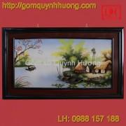 Tranh gốm sứ Bát Tràng - Cảnh đồng quê-Khung kép