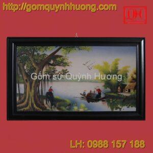 Tranh gốm sứ Bát Tràng - Cảnh đồng quê 1