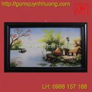 Tranh gốm sứ Bát Tràng - Cảnh đồng quê 2