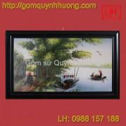 Tranh gốm sứ Bát Tràng - Cảnh đồng quê 3