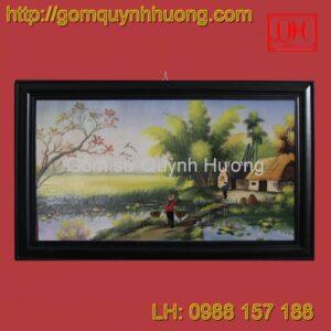 Tranh gốm sứ Bát Tràng - Cảnh đồng quê 4