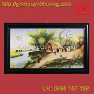 Tranh gốm sứ Bát Tràng - Cảnh đồng quê 8