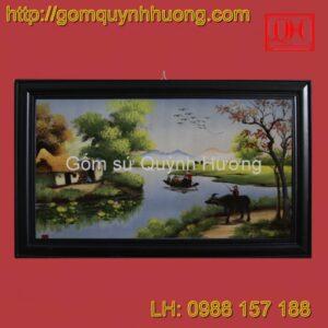 Tranh gốm sứ Bát Tràng - Cảnh đồng quê 9