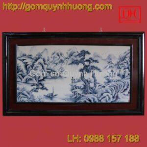 Tranh gốm sứ Bát Tràng - Sơn thủy khung ghép
