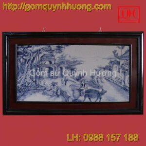 Tranh gốm sứ Bát Tràng - Khung kép