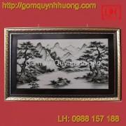 Tranh gốm sứ Bát Tràng - Sơn thủy cỡ đại