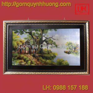 Tranh gốm sứ Bát Tràng - Cổng làng cỡ đại