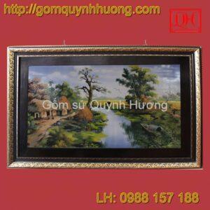 Tranh gốm sứ Bát Tràng - Đồng quê khung kép