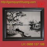 Tranh gốm sứ Bát Tràng - Cảnh đồng quê đen