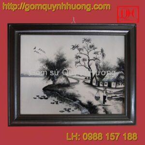 Tranh gốm sứ Bát Tràng - Cảnh đồng quê đen 2