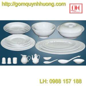 Bát đĩa Bát Tràng - Trọn bộ bát đĩa trắng