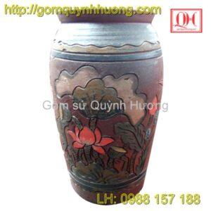 Chum gốm Bát Tràng - Chum đắp nổi hoa sen