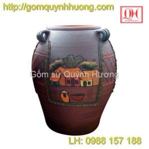 Chum gốm Bát Tràng - Chum trang trí cảnh quê 1