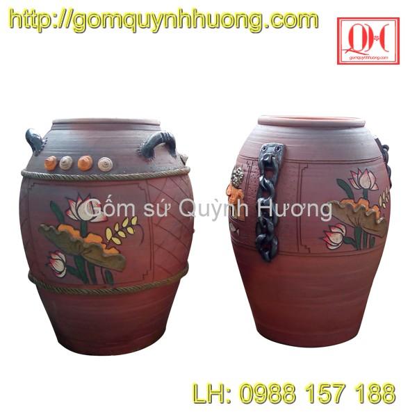 Chum gốm Bát Tràng - Chum trang trí hoa sen 1