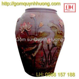 Chum gốm Bát Tràng - Chum trang trí hoa sen 4