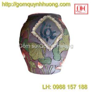 Chum gốm Bát Tràng - Chum trang trí sen lộc