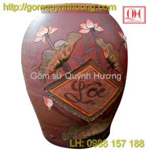 Chum gốm Bát Tràng - Chum trang trí sen lộc 1