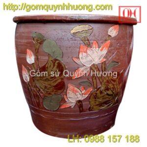 Chum gốm Bát Tràng - Vại trang trí đắp hoa sen