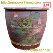 Chum gốm Bát Tràng - Vại trang trí vẽ hoa sen