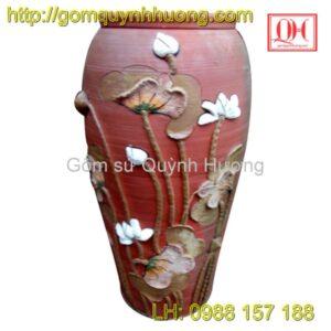 Chum gốm Bát Tràng - Chum cao vẽ hoa sen