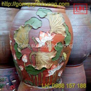 Chum gốm Bát Tràng đắp nổi hoa sen 1