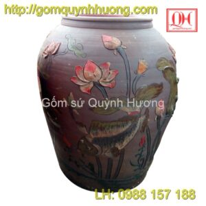 Chum gốm Bát Tràng trang trí cá chép hoa sen