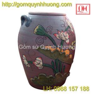 Chum gốm Bát Tràng trang trí đắp nổi hoa sen