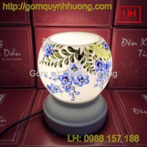 Đèn xông tinh dầu vẽ hoa cỏ màu xanh