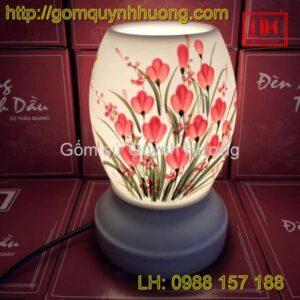 Đèn xông tinh dầu dáng cao vẽ hoa beo nước