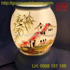 Đèn xông tinh dầu gốm sứ Bát Tràng cảnh nhà