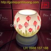 Đèn xông tinh dầu gốm sứ vẽ hoa beo nước