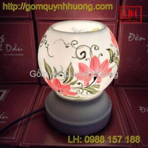 Đèn xông tinh dầu gốm sứ vẽ hoa cỏ 2