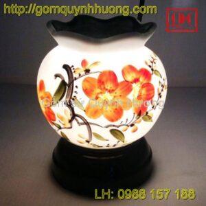 Đèn xông tinh dầu gốm sứ vẽ hoa đỏ