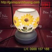 Đèn xông tinh dầu gốm sứ vẽ hoa hướng dương